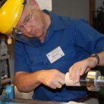 Mark Hoare turning a lidded box
